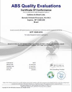 Certificado de conformidade IATD 16949