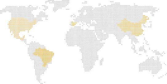 Mapa global estilizado com destaque para México, Brasil, Espanha e China