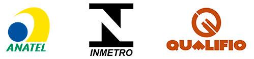 Logos da Anatel, Inmetro e Qualifio